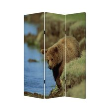 "72"" x 48"" Bear Screen 3 Panel Room Divider"