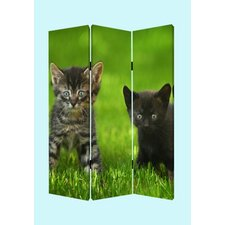 "72"" x 48"" Cat Screen 3 Panel Room Divider"