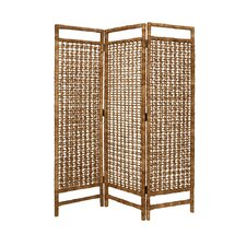 "72"" x 60"" Palm Square Weave 3 Panel Room Divider"