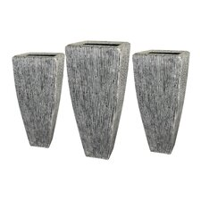 Sandstone Long Square Planters (Set of 3)