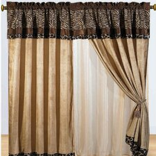 Zebra Micro Fur Rod Pocket Curtain Panel (Set of 2)