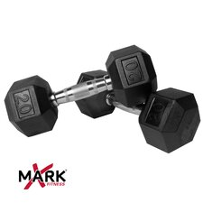 Pair of 20 lb Rubber Hex Dumbbells