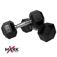 Pair of 25 lb. Rubber Hex Dumbbells