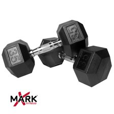 Pair of 35 lb Rubber Hex Dumbbells