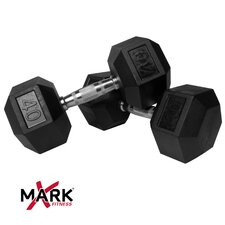 Pair of 40 lb Rubber Hex Dumbbells