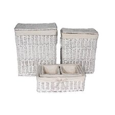 <strong>Wicker Valley</strong> Willow Laundry and Storage Basket in White 6 Piece Set