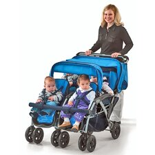 Quad 4 Passenger Tandem Dual Folding Canopy Stroller