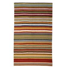 Contemporary Multi Stripe Chain-stitch Rug