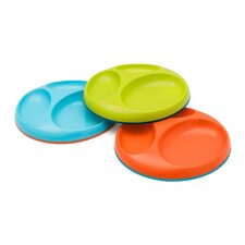 Saucer Edgeless Stayput Divided Plate (Set of 3)