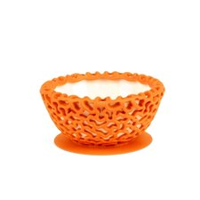 Wrap Protective Bowl Cover with Suction Cup Base in Tangerine