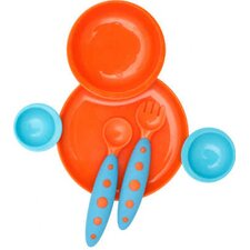 <strong>Boon</strong> Groovy Interlocking Plate And Bowl with Modware in Blue Raspberry / Tangerine