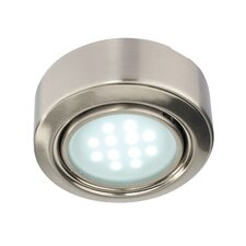 Mimi White LED Round Under Cabinet Light in Satin Nickel
