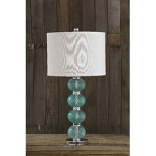 """Uptown Bubble Art Glass Balls 27"""" H Table Lamp with Drum Shade"""