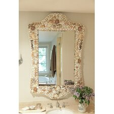 <strong>Creative Co-Op</strong> Sanctuary Wood and Shell Mirror