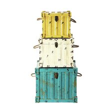 <strong>Creative Co-Op</strong> Seaside MDF Trunk (Set of 3)
