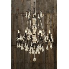 Uptown Iron Frame with Wood Bead 6-Light Chandelier