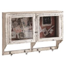 <strong>Creative Co-Op</strong> The Painted Porch Wood Curio Wall Shelf with 4 Hooks