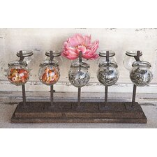 Hacienda Wood and Metal Votive Holder / Vase