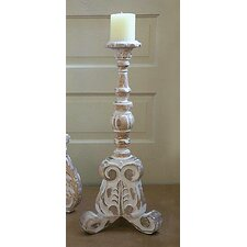 Cottage Wood Wash Candle Holder