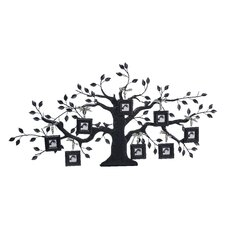 Metal Family Tree Wall Plaque with 8 Square Photo Frames