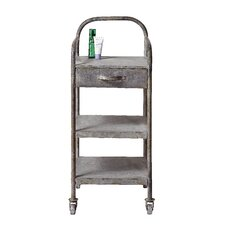 Galvanized Tin 3-Tier Shelf with Drawer