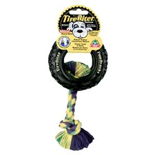 Tire Biter Paw Track with Rope Dog Toy in Black