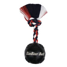 <strong>Mammoth Pet Products</strong> Tire Biter Ball with Rope Dog Toy in Black