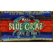 Blue Crab Vintage Advertisement Plaque