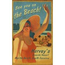 On the Beach Vintage Advertisement Plaque
