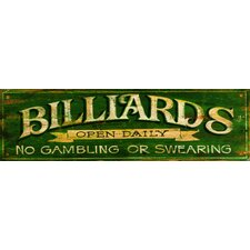 Billiards Green Vintage Sign