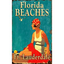 Florida Beaches Vintage Advertisement Plaque