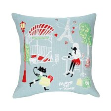 I Love Paris Tapestry Cotton Twill Pillow