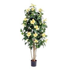 "42"" Artificial Hibiscus Plant with Yellow Flowers"