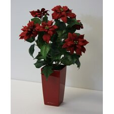 Artificial Poinsettia Desk Top Plant in Decorative Vase