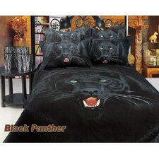 <strong>Dolce Mela</strong> Black Panther Egyptian Cotton 6 Piece Duvet Cover Set
