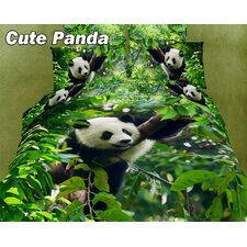 <strong>Dolce Mela</strong> Cute Panda Egyptian Cotton Duvet Cover Set