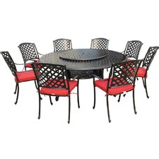 Bordeaux 9 Piece Dining Set with Lazy Susan