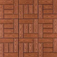 """Composite 12"""" x 12"""" Interlocking Deck Tiles in Redwood"""