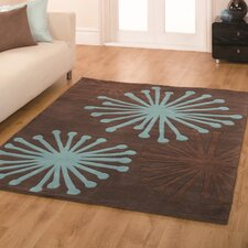 Infinite Starburst Chocolate / Teal Contemporary Rug