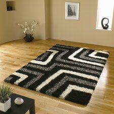 Nordic Tides Black / Grey Shag Contemporary Rug