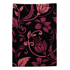 Infinite Damask Black / Pink Contemporary Rug