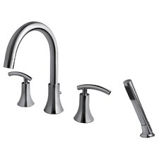 Contemporary Two Handle Deck Mount Roman Tub Faucet with Hand Shower