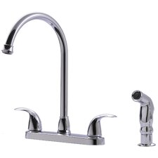 Two-Handle Centerset Kitchen Faucet with Matching Side Spray