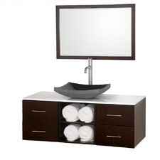 "<strong>Wyndham Collection</strong> Abba 48"" Wall-Mounted Bathroom Vanity Set"
