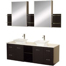 "<strong>Wyndham Collection</strong> Avara 60"" Wall-Mounted Bathroom Vanity Set"