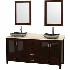 "<strong>Wyndham Collection</strong> Lucy 72"" Double Bathroom Vanity Set"