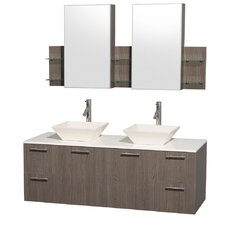 "<strong>Wyndham Collection</strong> Amare 60"" Double Bathroom Vanity Set"