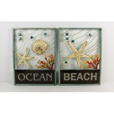 <strong>Firefly Home Collection</strong> 2 Piece Assortment Ocean and Beach Wall Décor Set