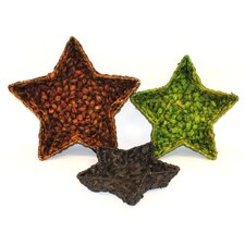 3 Piece Water Hyacinth Star Tray Set