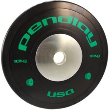 <strong>Pendlay</strong> 10kg Elite Black Bumper Plates in Colored Ink (Set of 2)